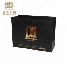 Sac en papier exclusif d'art de l'emballage d'emballage 250gsm de cadeau de Matt Black d'impression faite sur commande avec le logo de feuille d'or