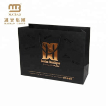 Custom Print Matt Black Gift Shopping Packaging 250gsm Exclusive Art Paper Bag With Gold Foil Logo