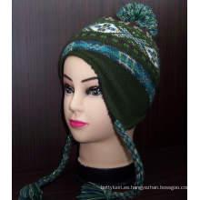 Patrón personalizado nuevo estilo asiático hecho punto gorrito sombrero con orejeras (1-2272 / 73/74/76)