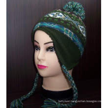 Custom Pattern New Asian Style Knitted Beanie Hat with Earflap (1-2272/73/74/76)