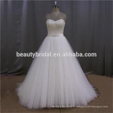 SL139-1 queue de poisson plissée à la main et perlée robe de mariée 2016 élégante robe de soirée sans dossier 2016