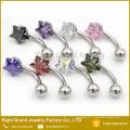 Piercing d'anneau de zircon cubique de griffe d'acier inoxydable