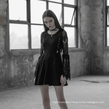 OPQ-391 PUNK RAVE Lace Sleeves Hollow-out V Collar  Braces Dress women casual dress