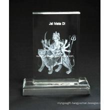 Maa Sherawali Crystal Plaque with Base for Hindu Souvenir