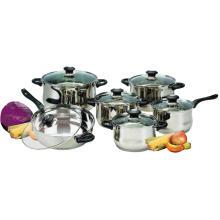12-teiliges Kochgeschirr-Set mit Bakelit-Griffen und Knöpfen