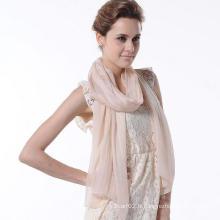 Nouvelle mode Design Femme Pure Color Scarf Accessoires en soie naturelle