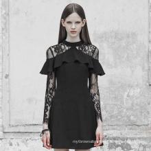Gothic women dress O neck patchwork lace ruffles long sleeve black fashion design spring dresses OPQ-363 lady clothes PUNK RAVE