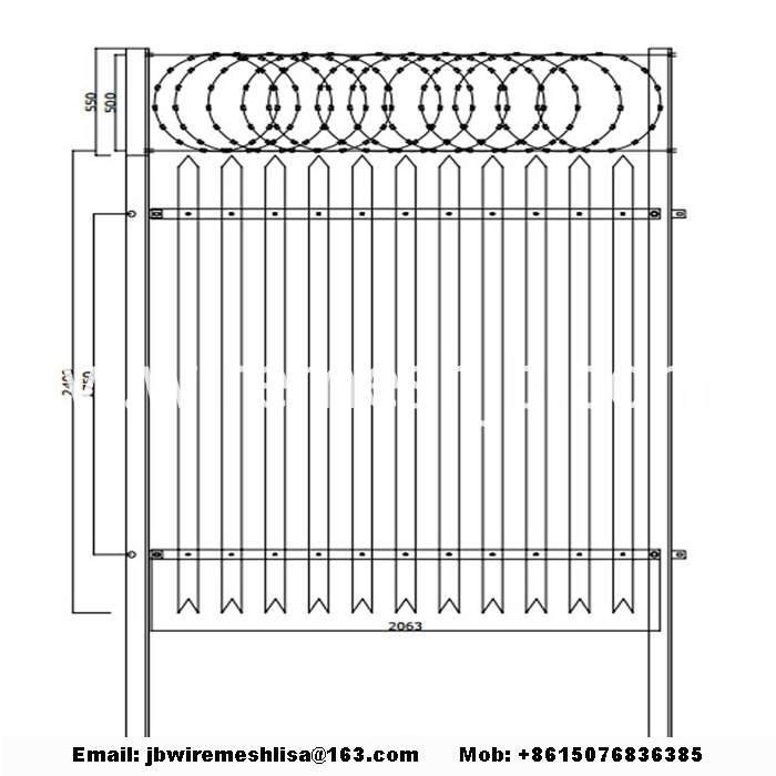 Powder Coated Palisade Fence Panels