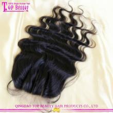 Qingdao alto grau 3 parte fechamento top qualidade 3 vias parte fechamento cabelo brasileiro virgem 3 parte de base de seda lace closure