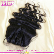 Циндао высокого класса 3 часть закрытие высокое качество 3 способ частью закрытие Виргинских бразильских волос 3 часть шелковый база кружева закрытие
