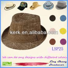 LSP25 Ningbo Lingshang 2014 Nueva llegada Plain Ribbon Brown Fedora sombreros baratos cubo