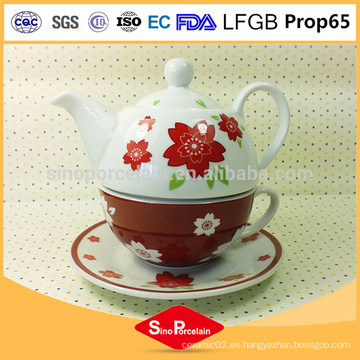 Tetera de encargo impresa de la insignia de la manera con el sistema de té de cerámica