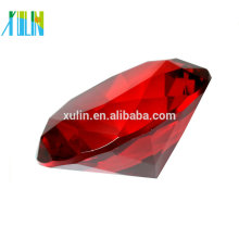 Paperweight de diamante de cristal vermelho de alta qualidade para lembranças de casamento
