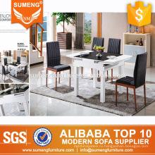 установить новый дизайн высокого качества мраморный расширение твердых древесины обеденный стол