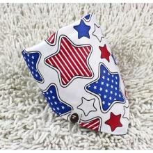 Promocionais personalizado logotipo estrelas impresso algodão branco bonito bebê triângulo bandana (BO829)