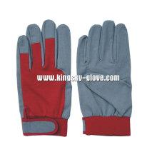 Gant de mécanicien de poignet tricoté en cuir de dos en cuir synthétique-7202