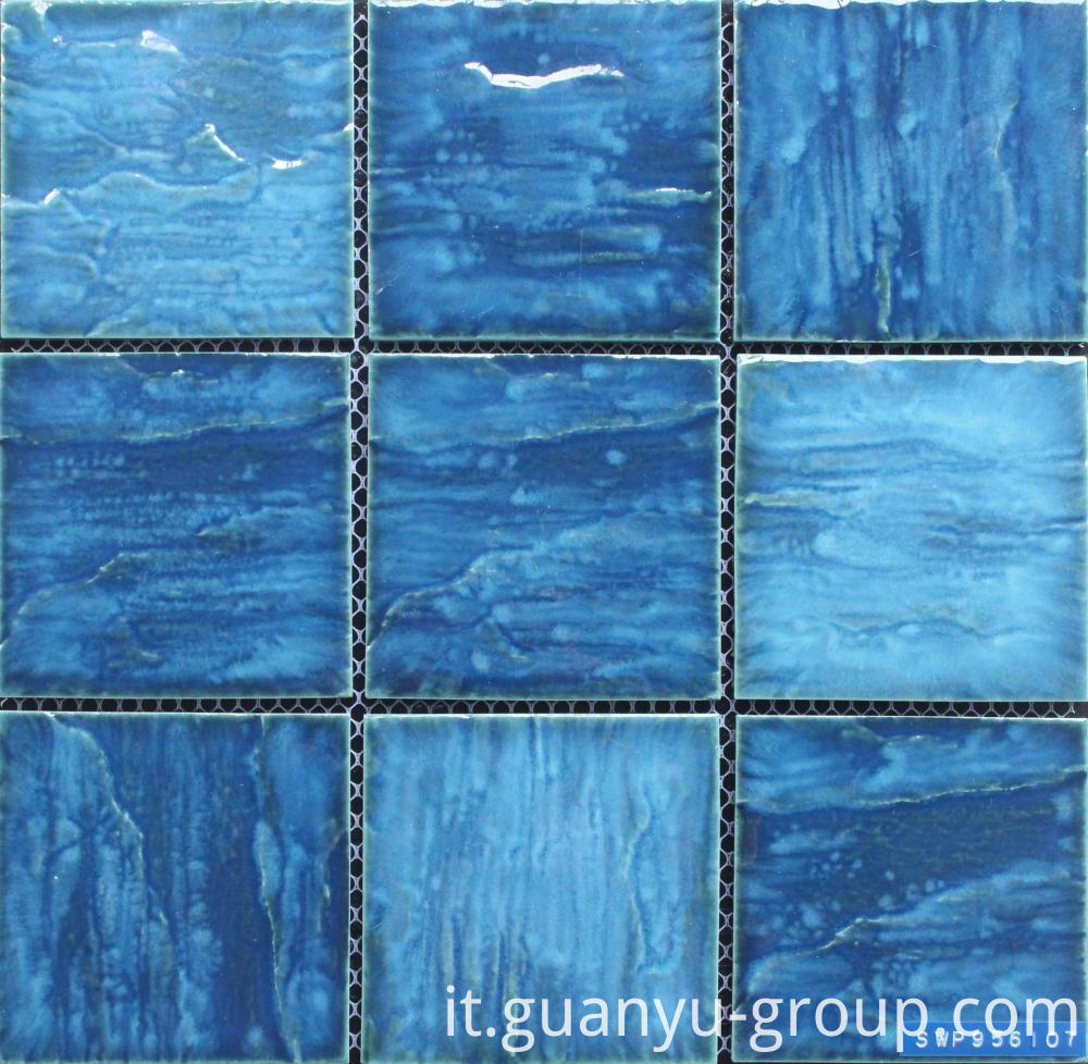 Blue Bumpy Glazed Surface Porcelain Pool Mosaic
