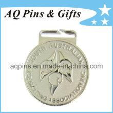 Medalla de aleación de zinc en plateado para patinaje sobre hielo