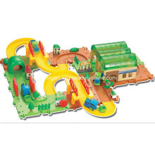 Trilha, brinquedo, blocos, trens, jogo, brinquedo