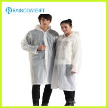 Poncho de lluvia de PVC 100% blanco transparente (RVC-128)