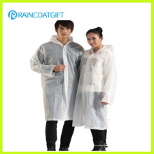Transparent Weiß 100% PVC Regen Poncho (RVC-128)