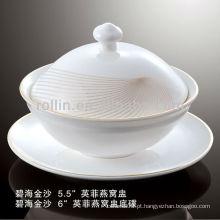 Saudável, durável, branca, porcelana, forno, seguro, dourado, Areia, dinnerware