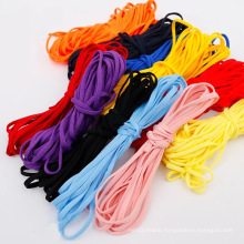 Manufacturer polyester spandex 5mm flat Dyed many colorful colors earloop elastic rope