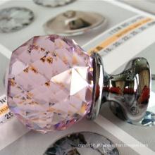 Rose boutons de traction verre boule de cristal poignée poussoir en gros