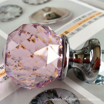 Pink glass crystal ball handle push pull knobs wholesale