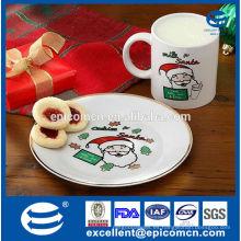 Placa de galleta de porcelana de Navidad y taza de café