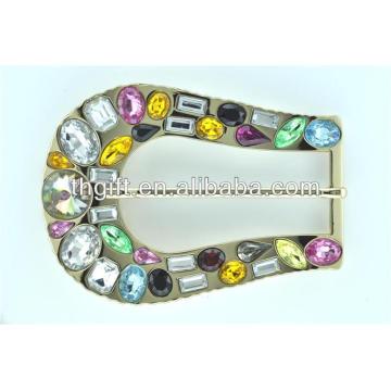 Fivela de cinto de metal personalizada com chapeamento de jóias
