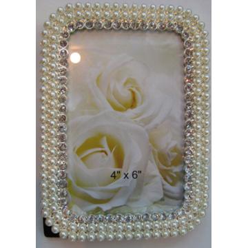 Legierung Fotorahmen mit Perlen und Kristallen