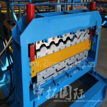 Panel de doble capa Color acero techo Trapezoidal rodillo formando azulejo de mosaico de la máquina que hace la máquina