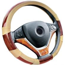PVC leather wooden steering wheel cover