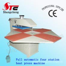Automático completo camiseta calor transferencia máquina estación cuatro neumáticos calor prensa máquina Stc-Qd03