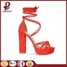 red sexy lady lace strappy platform sandals