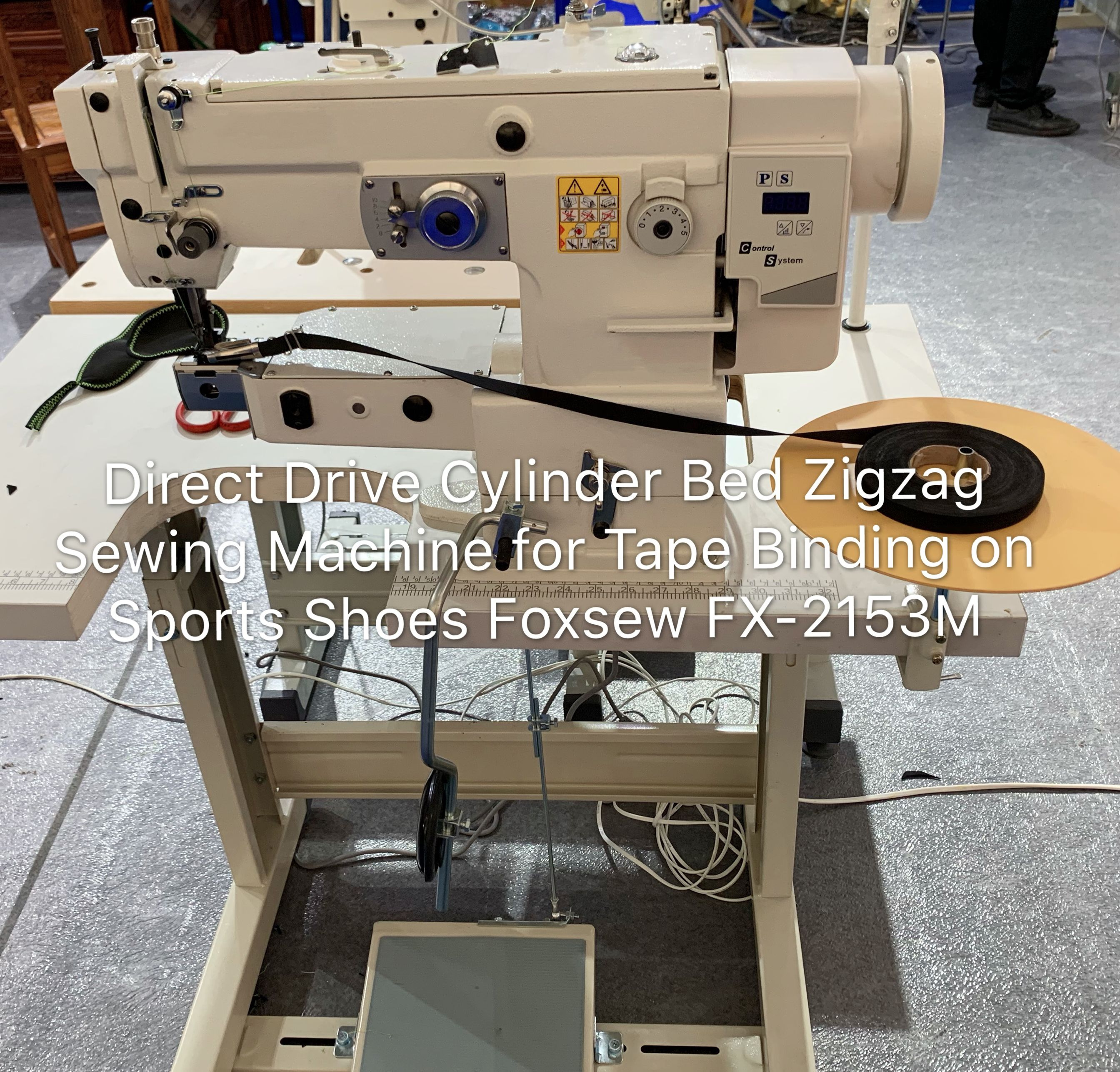 Direct Drive Cylinder Bed Zigzag Sewing Machine for Tape Binding on Sports Shoes Foxsew FX-2153M