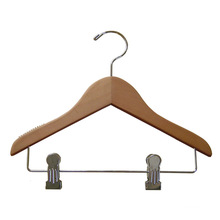 Wooden Baby Coat Hanger with Metal Bar and Metal Clips