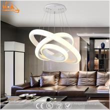 Lâmpada de pendente acrílica do diodo emissor de luz dos anéis redondos da luz três da sala de jantar