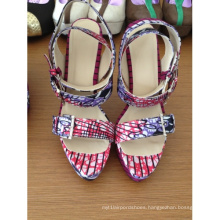 African Printed Fabric Peep Toe Sandal Shoes (HCY02-244)