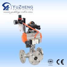Válvula de bola de 3 vías con extremo de brida con actuador neumático