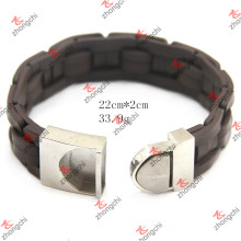 Stainless Steel Buckle Knitted Leather Bracelet for Man Jewelry (LB15112305)