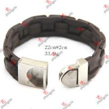 Aço inoxidável fivela de malha pulseira de couro para homem jóias (lb15112305)