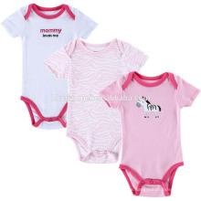 Hochwertige Baumwolle 3 Stück Baby Strampler mit Frontdruck appliziert bestickt rosa Streifenmuster Mädchen Strampelanzug Baby