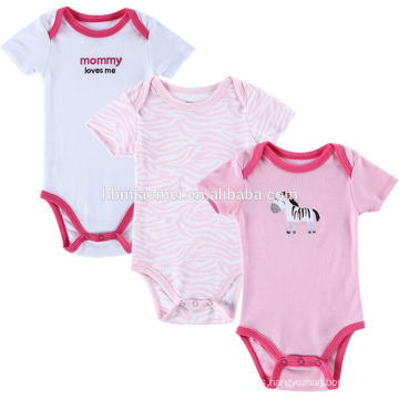 High quality cotton 3 pcs baby romper with front print appliqued embroidered pink stripe pattern girls onesie romper baby