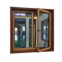 La ventana de giro de inclinación de doble panel de fácil limpieza viene con revestimiento de madera Metal