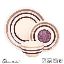Juego de mesa de cerámica marrón pintada a mano de 18 piezas de alta calidad