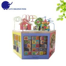 Kids Educational 6 côtés Multi-fonctionnel 6 en 1 grand bois Super Intelligent Toy Learning Cube
