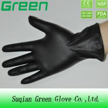 Черная одноразовая рабочая виниловая перчатка