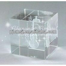 2015 Venta al por mayor Cubo de cristal antiguo personalizado con 3D grabado láser Violín para regalos de músico